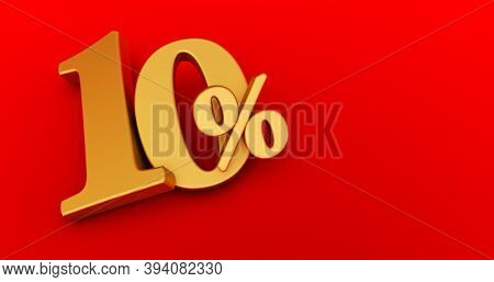 10% Off. Gold Ten Percent. Gold Ten Percent On Red Background. 3d Render.