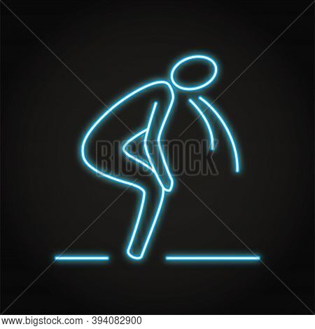 Neon Vomiting Person Icon In Line Style