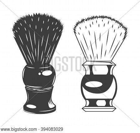 Shaving Brush Vector Illustration Isolated On White Background. Equipment For Personal Hygiene Shavi