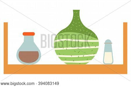 Wooden Shelf In Kitchen Vector, Isolated Table With Vase And Bottles With . Saltshaker Salt And Pepp
