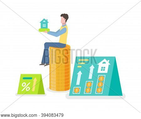 Money Investment, Coins And Dwelling Sign, Rising Arrow And Percent, Man Holding House Object, Curre