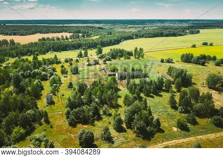 Belarus. Aerial View Of Cowshed In Chernobyl Zone. Chornobyl Catastrophe Disasters. Dilapidated Hous