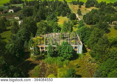 Belarus. Aerial View Of Abandoned Store In Chernobyl Zone. Chornobyl Catastrophe Disasters. Dilapida