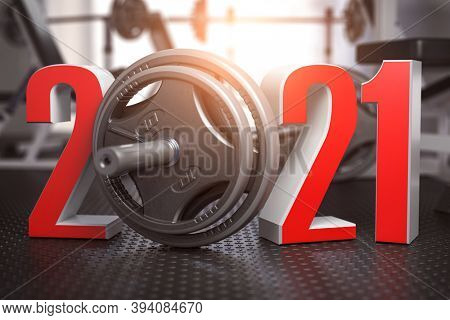 2021 New Year  in gym. Number 2021 with barbell and oter spoirt equipment. Bodybuilding workout fitness concept. 3d illustration