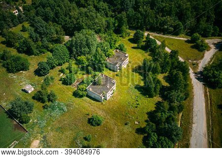 Belarus. Aerial View Of Abandoned Houses In Chernobyl Zone. Chornobyl Catastrophe Disasters. Dilapid