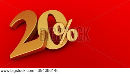 3d Rendering Of A Golden Twenty Percent On A Red Background. Sale Of Special Offers. Discount With T
