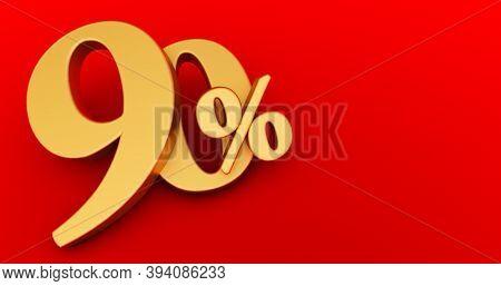 90% Off. Gold Ninety Percent. Gold Ninety Percent On White Background. 3d Render.