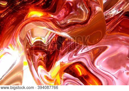 Abstract pink red liquid glass background texture