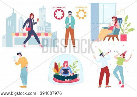 Collection Of Cartoon Extravert And Introvert People, Flat Vector Illustration. Extraversion And Int