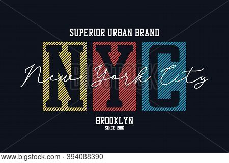 New York City Design For T-shirt. Nyc, Brooklyn Tee Shirt Print. Typography Graphics For Apparel. Ve