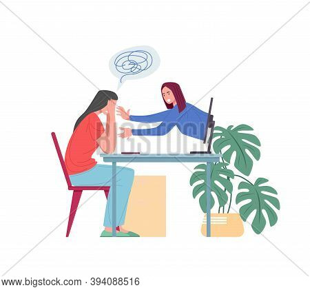 Psychological Support Online, Vector Flat Illustration. Cartoon Female Patient With Mental Disorder