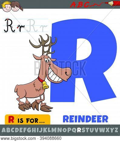 Educational Cartoon Illustration Of Letter R From Alphabet With Reindeer Animal Character For Childr
