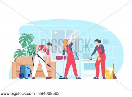 Cleaning Service, Team Of Home Cleaners, Housekeepers, Vector Illustration Of Flat Cartoon Character