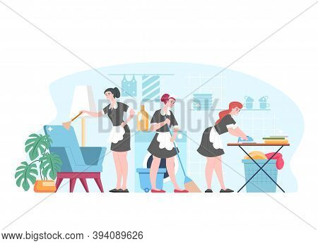 Housemaid, Maid, Housekeeping, Cleaning Service Workers, Vector Flat Cartoon Characters Wiping Dust,