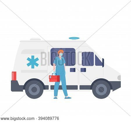 Male Emergency Doctor, Ambulance Car, Vector Cartoon Medic Character. Paramedic Service, First Aid,