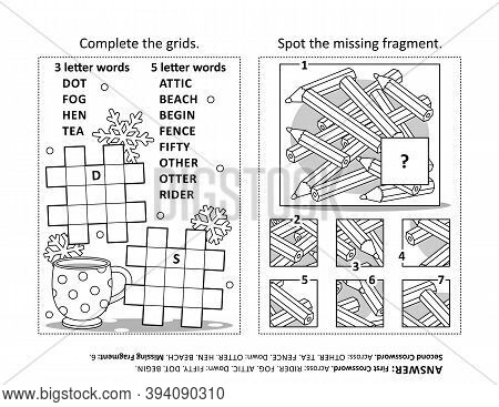 Activity Page With Two Puzzles. Fill-in Crossword Puzzle Or Word Game. Spot The Missing Fragment Of
