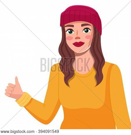 Young Woman In Burgundy Beret Vector Illustration. Cheerful Female Character Raised A Hand Holds A F