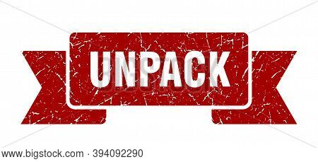 Unpack Ribbon. Unpack Grunge Band Sign. Unpack Banner