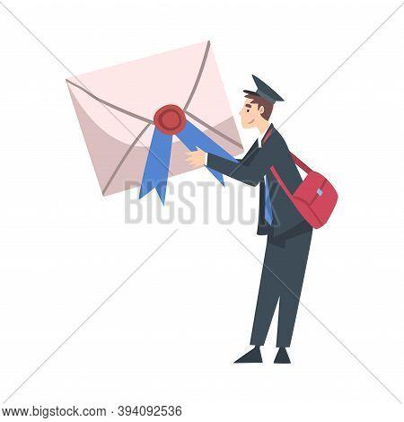 Tiny Postman Holding Huge Envelope, Postal Service, Correspondence Cartoon Style Vector Illustration
