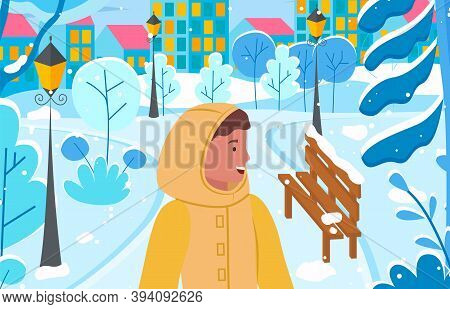 Female Character Wearing Warm Clothes And Relaxing In Winter City Park With Lanterns And Benches. To