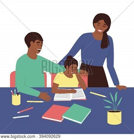 African American Parents Watch As Their Daughter Read A Book. Parents And Child Spend Time Together.