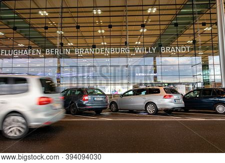 Schönefeld, Germany - November 1, 2020 - Moving Car In Front Of The Berlin Brandenburg Airport (ber)