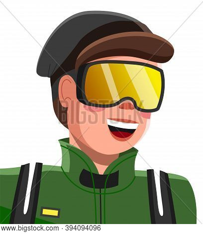 Young Happy Man In Winter Outwear Ski Mask On His Face On White Background Vector. Male Character Do