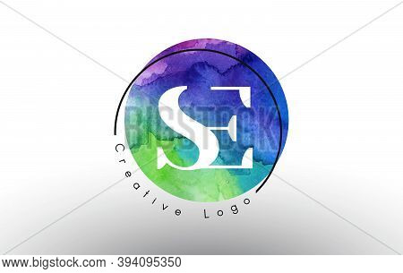 Watercolor Se S E Letters Logo Design With Blue Green Purple Colors And Circular Brush Pattern.