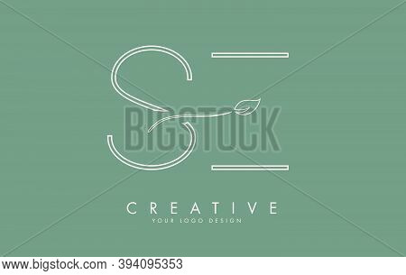 Leaf Cut  Se S E Letters And Green Background For Business. Eco Letter Vector Illustration.