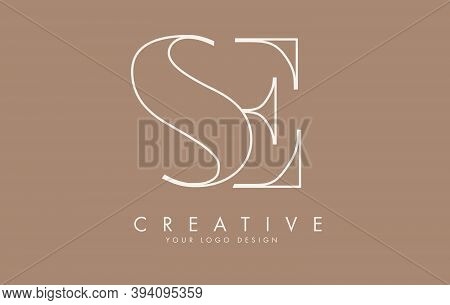 Outline Se S E Logo Design With Combined Letters And Fall Colors Vibes.