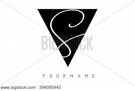 Sv S V Black And Silver Letters Logo With A Geometric Design.  Alphabet Initials And Abstract Overla