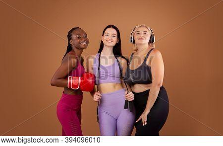 Sport For Every Body. Portrait Of Multiethnic Female Friends In Sportswear, Beautiful Ladies Of Diff