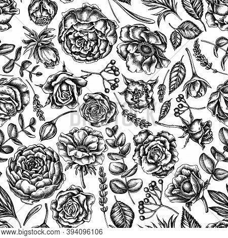 Seamless Pattern With Black And White Roses, Anemone, Eucalyptus, Lavender, Peony, Viburnum Stock Il