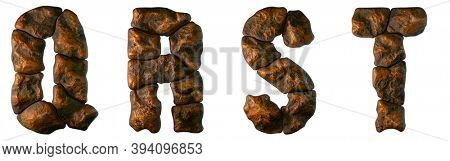 Set of rocky letters Q, R, S, T. Font of stone on white background. 3d rendering