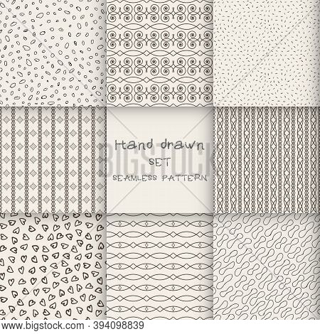 Hand Drawn Set Marker And Ink Seamless Patterns. Hand Drawn Circles, Triangles, Squares, Snowflakes,