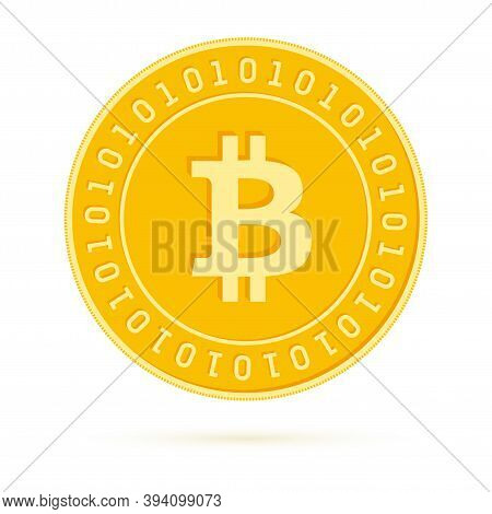 Bitcoin, Internet Currency Coin Isolated On White Background. Btc Yellow Gold Coin. Cryptocurrency,