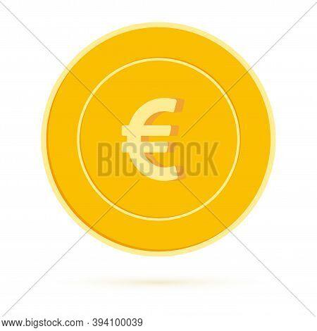 European Union Euro Coin Isolated On White Background. Eur Yellow Gold Coin. Europe Metal Money. Vib