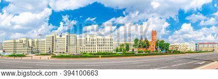 Panorama Of Independence Square In Minsk City Centre With Government House And Saints Simon And Hele