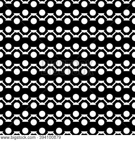 Zigzag Lines, Circles Seamless Ornament. Curves, Rounds Pattern. Jagged Stripes, Circle Shapes Motif