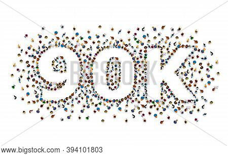 Thank You Followers Peoples, 90k Online Social Group, Happy Banner Celebrate, Vector