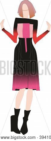 Beautiful Fashion Girl In Pink Dress. Suit. Trousers And Skirt. Fashionable Chic, Silk And Luxury Dr