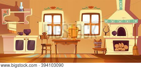Old Rural Russian Kitchen Oven, Samovar, Table, Chair And Grip. Vector Cartoon Interior Of Tradition