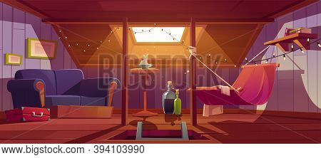 Cozy Room On Attic With Hammock, Sofa And Window In Roof. Vector Cartoon Interior Of Mansard For Rel