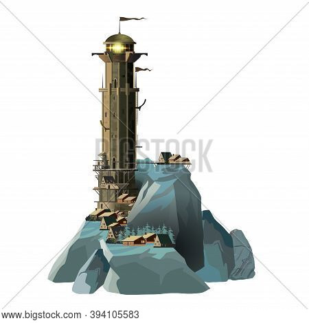 Fantasy Style Epic Military Lighthouse On A Blue Rocky Island And Near A Small Village. Huge Lightho