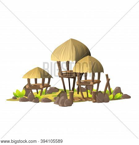 Small Tropical Island With Simple Shacks, Wooden Houses With Thatched Roofs. Island With The Village