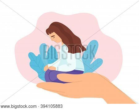 Abstract Concept Of Psychiatry And Psychological Care. Stressed And Depressed Girl Sitting In An Ope
