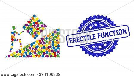 Circle Mosaic Pointless Task And Erectile Function Unclean Stamp Seal. Blue Stamp Seal Includes Erec