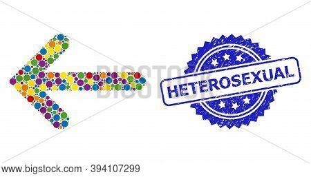 Round Dot Mosaic Left Arrow And Heterosexual Dirty Stamp Seal. Blue Stamp Seal Includes Heterosexual
