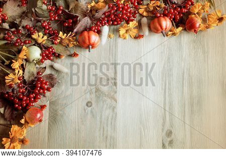 Thanksgiving background. Thanksgiving day autumn background with seasonal autumn nature berries, pumpkins and flowers on the wooden background, Thanksgiving card. Thanksgiving festive background, Thanksgiving composition for Thanksgiving text
