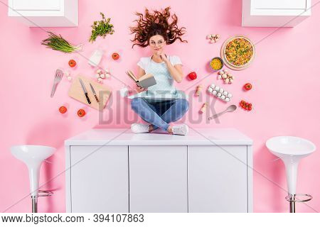 Top Above High Angle View Full Size Photo Minded Housewife Girl Sit Table Read Book Think Decide Men